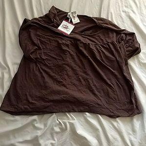 Bobi Gathered Yoke Shirt, Brown, Size Medium